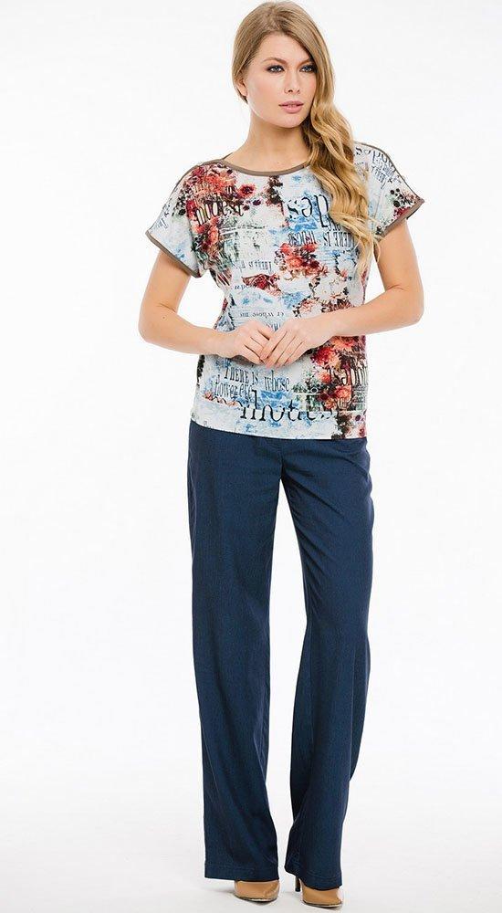 Женская кофта с коротким рукавомКофты<br><br><br>Размер: 42, 44, 46, 48, 50, 52, 54<br>Материал: вискоза<br>Цвет: Мульти<br>Сезон: Лето, Весна<br>Длина: Короткая<br>Артикул: 6180