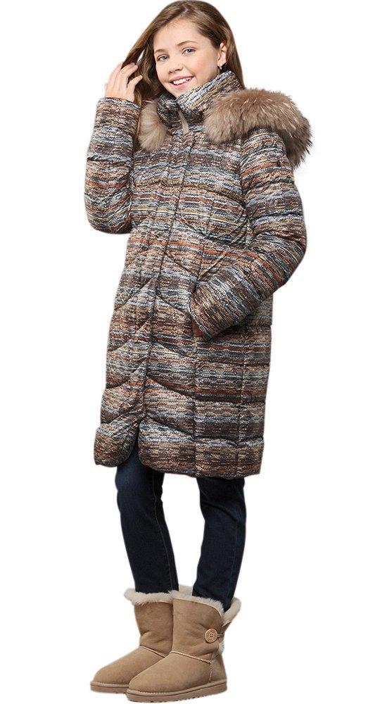 Детский пуховик с мехомПуховики<br><br><br>Размер: 116-122, 128-134, 140-146, 152-158<br>Материал: Пух-перо<br>Цвет: Мульти<br>Сезон: Зима<br>Длина: Средняя<br>Артикул: GW160603