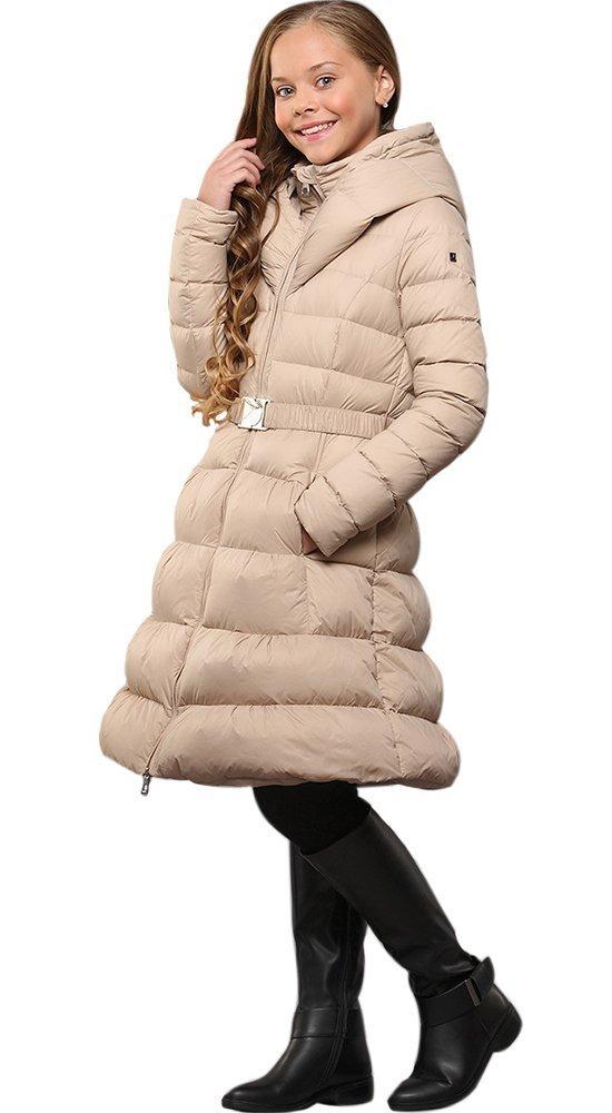 Стеганное пальто-пуховик для девочкиПуховики<br><br><br>Размер: 116-122, 128-134, 140-146, 152-158<br>Материал: Пух-перо<br>Цвет: Бежевый<br>Сезон: Зима<br>Длина: Средняя<br>Артикул: GW160605