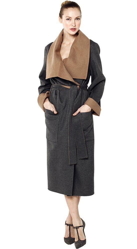Кашемировое пальто-халат ШеронсПальто<br><br><br>Размер: 42, 44, 46, 48, 50<br>Материал: кашемир<br>Цвет: Серый<br>Сезон: Демисезон, Весна, Осень<br>Длина: Средняя<br>Артикул: 42728/13
