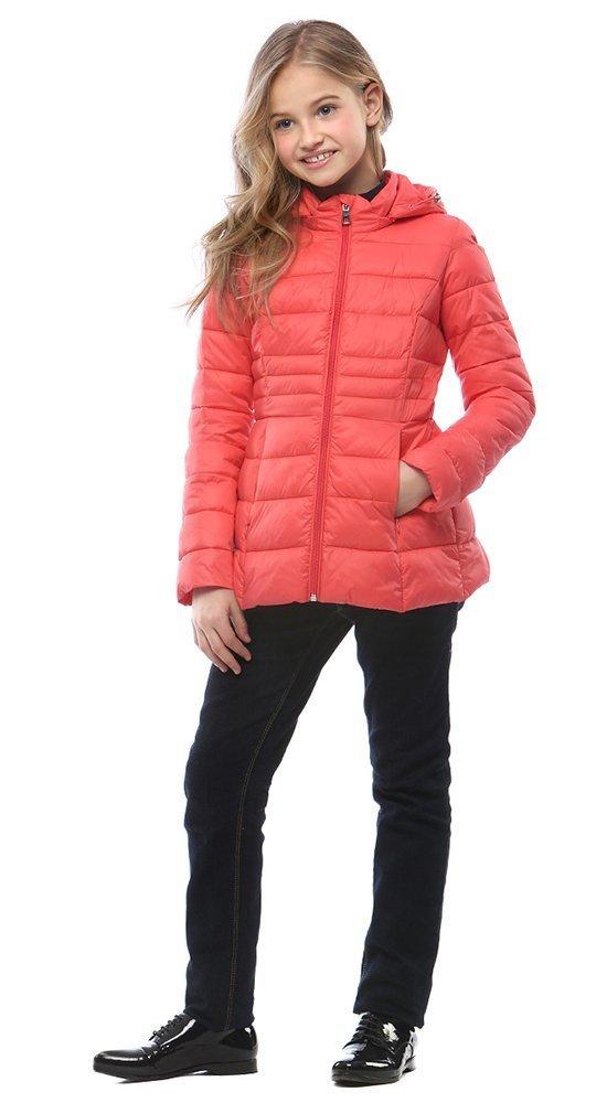 Куртка с капюшоном для девочкиКуртки<br><br><br>Размер: 116-122, 128-134, 140-146, 152-158<br>Материал: Био-пух<br>Цвет: Красный<br>Сезон: Демисезон<br>Длина: Короткая<br>Артикул: SG170206