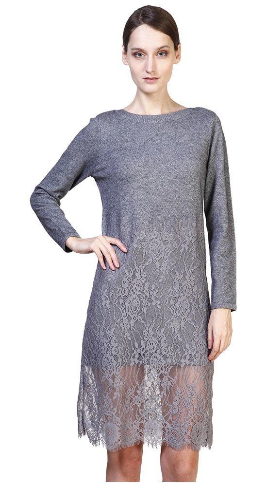 Кашемировое платье с кружевомПлатья<br><br><br>Размер: 44<br>Материал: кашемир<br>Цвет: Серый<br>Сезон: Демисезон, Весна<br>Длина: Средняя<br>Артикул: 00182