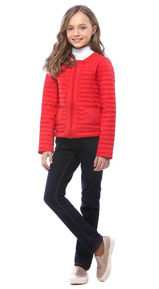 Стильная куртка для девочекКуртки<br><br><br>Размер: 116-122, 128-134, 140-146, 152-158<br>Материал: Био-пух<br>Цвет: Красный<br>Сезон: Демисезон<br>Длина: Короткая<br>Артикул: SG170202