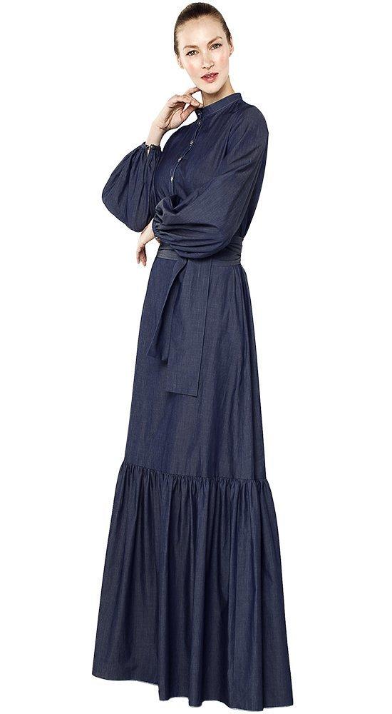 Закрытое платье в пол ИлларионаПлатья больших размеров<br><br><br>Размер: 42, 44, 46, 48, 50<br>Материал: эластан, хлопок<br>Цвет: Синий<br>Сезон: Лето, Весна<br>Длина: Длинная<br>Артикул: 79725/53