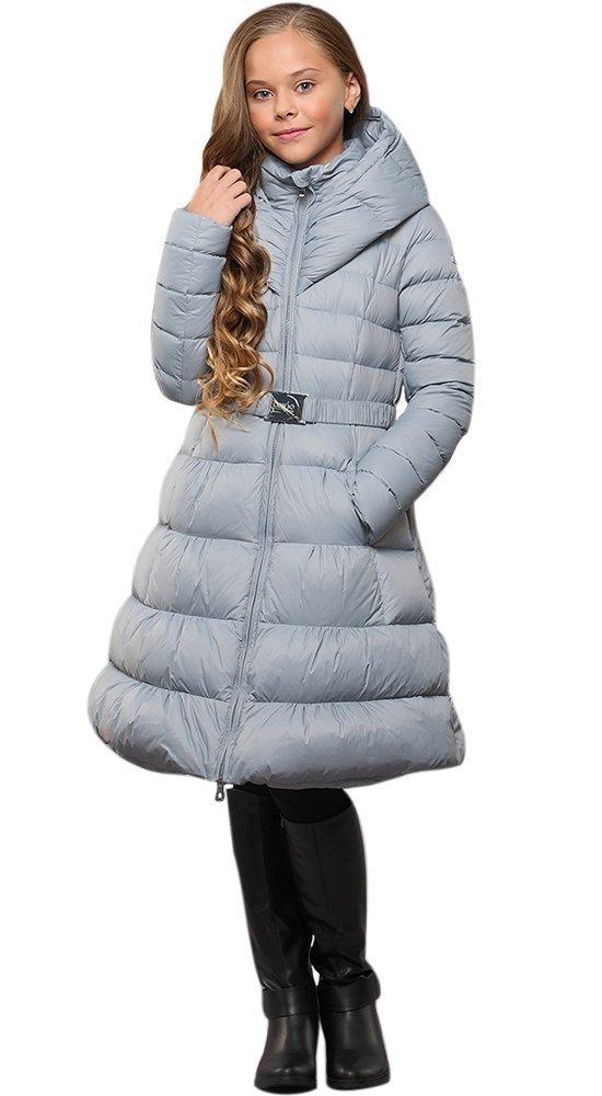Детский пуховик-платье с капюшономПуховики<br><br><br>Размер: 116-122, 128-134, 140-146, 152-158<br>Материал: Пух-перо<br>Цвет: Голубой<br>Сезон: Зима<br>Длина: Средняя<br>Артикул: GW160605