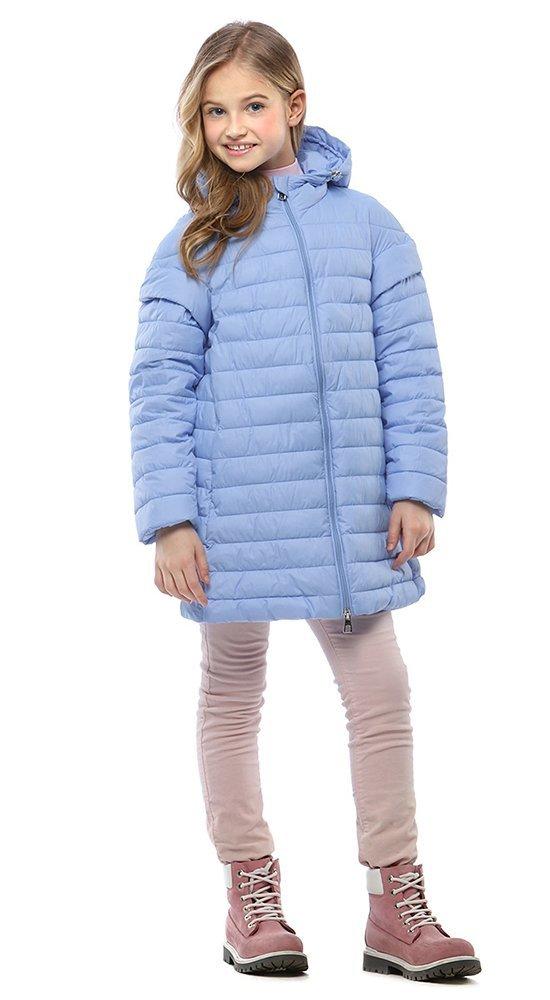 Модная куртка для девочкиКуртки<br><br><br>Размер: 116-122, 128-134, 140-146, 152-158<br>Материал: Био-пух<br>Цвет: Голубой<br>Сезон: Демисезон<br>Длина: Средняя<br>Артикул: SG170211