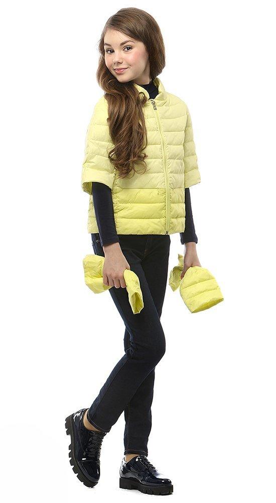 Куртка-трансформер для девочек CONSOWEARКуртки<br><br><br>Размер: 116-122, 128-134, 140-146, 152-158<br>Материал: Био-пух<br>Цвет: Жёлтый<br>Сезон: Демисезон<br>Длина: Короткая<br>Артикул: SG170201