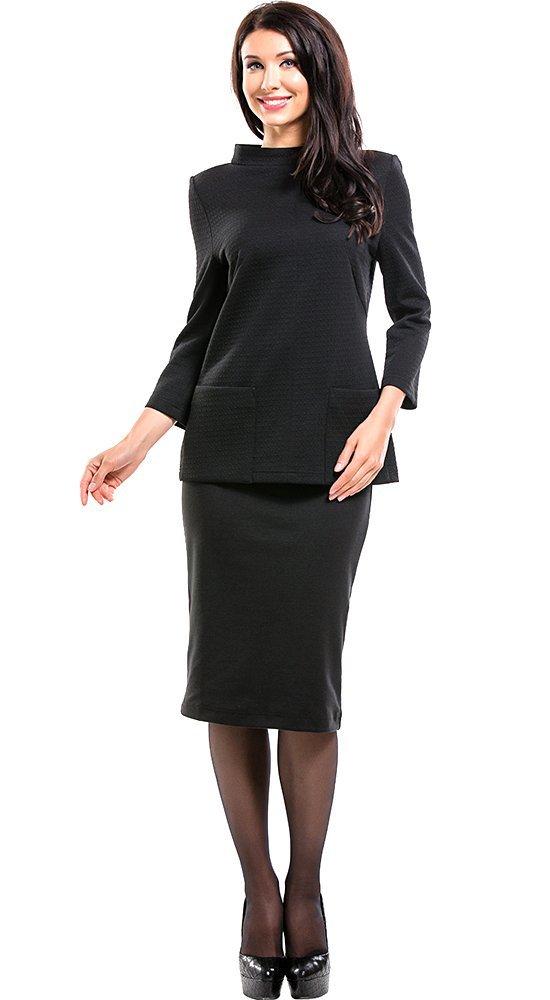 Черный женский джемпер с карманамиКофты<br><br><br>Размер: 42, 44, 48, 50, 52<br>Материал: трикотаж<br>Цвет: Чёрный<br>Сезон: Демисезон, Осень, Зима<br>Длина: Средняя<br>Артикул: 6074/1