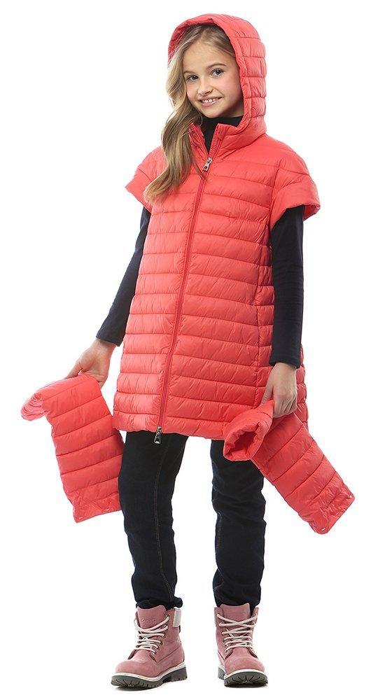 Детская куртка-трансформерКуртки<br><br><br>Размер: 116-122, 128-134, 140-146, 152-158<br>Материал: Био-пух<br>Цвет: Красный<br>Сезон: Демисезон<br>Длина: Средняя<br>Артикул: SG170211