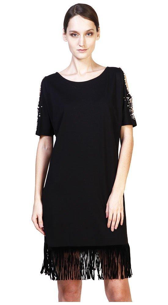 Трикотажное черное платьеПлатья<br><br><br>Размер: 46<br>Материал: трикотаж<br>Цвет: Чёрный<br>Сезон: Демисезон, Весна<br>Длина: Средняя<br>Артикул: 00192